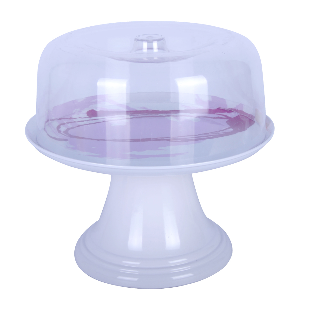 Melamine 13 Inch Purple Drawing Cake Plate Stand With San